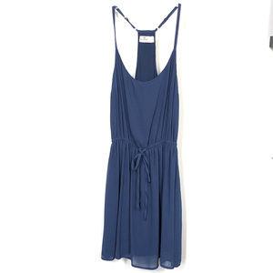 Hollister Sleeveless Blue Dress With Tie Waist - L